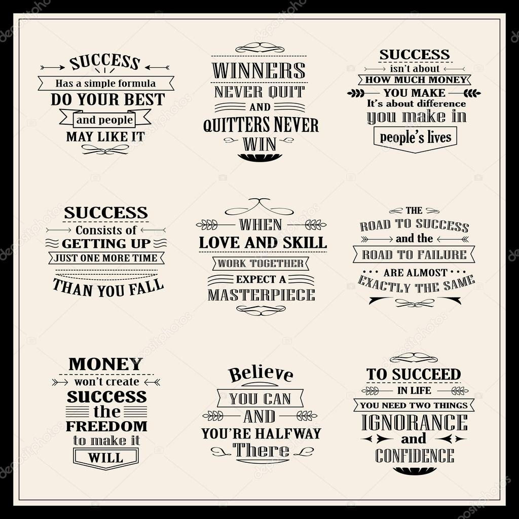 Motivational And Inspirational Quotes Success Motivational And Inspirational Quotes Set  Stock Vector