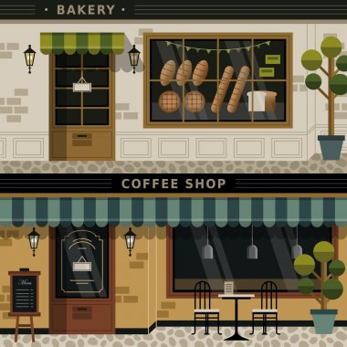 coffee shop and bakery facades