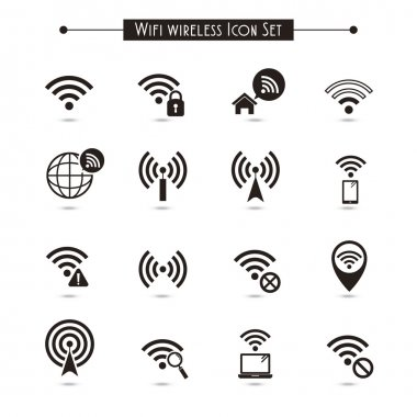 Wifi wireless icons set isolated over white background stock vector