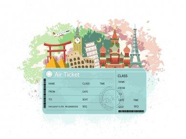 Close-up look at flight ticket