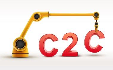 industrial robotic arm building C2C word
