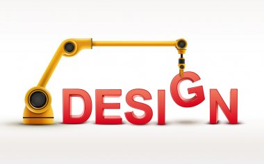 industrial robotic arm building DESIGN word