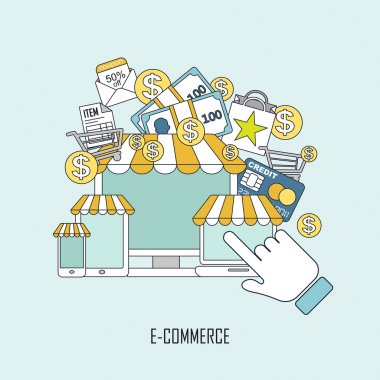 e-commerce concept in thin line style