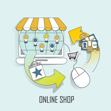 Online shop concept: a virtual store and shopping process in line style stock vector