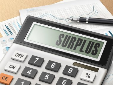calculator with the word surplus