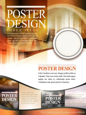 Modern poster template design with glitter translucent blurred background stock vector