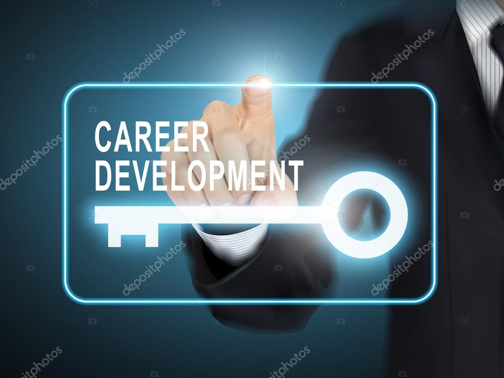 male hand pressing career development key button