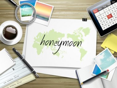 Honeymoon word written on paper