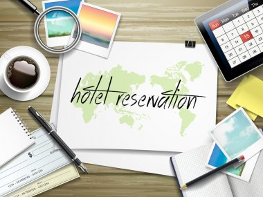 hotel reservation written on paper
