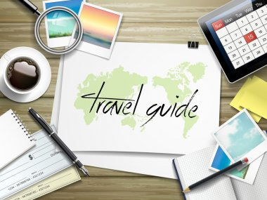 travel guide written on paper