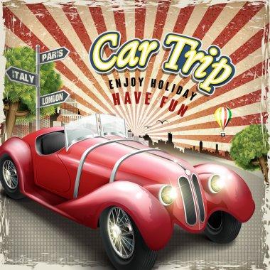 Attractive retro car trip design poster with colorful city background clip art vector