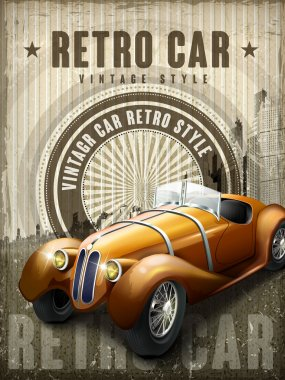 attractive retro car design poster