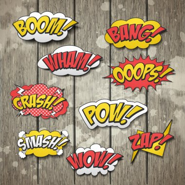 Vivid colorful comic sound effects set over wooden background clip art vector