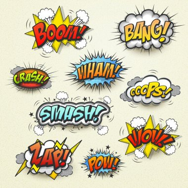 Vivid colorful comic sound effects set over beige background clip art vector