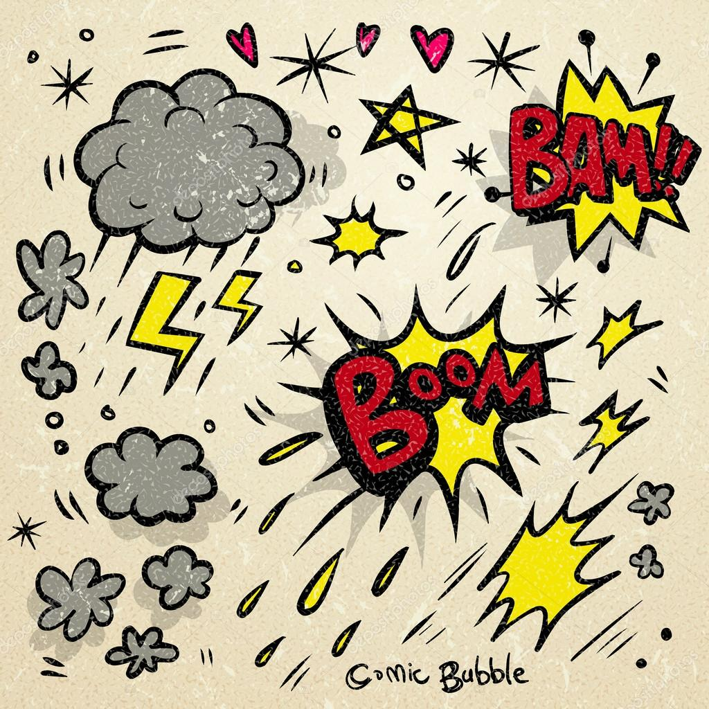 lovely doodle style comic sound effects set