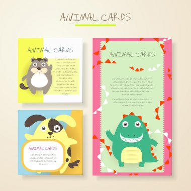 lovely cartoon animal characters cards