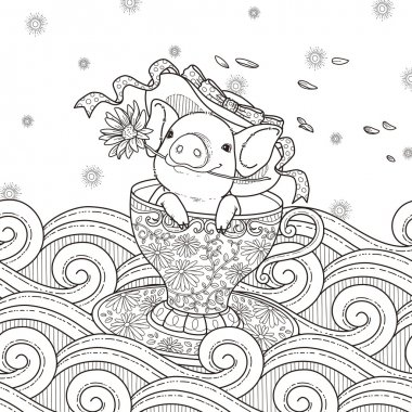 adorable piggy coloring page