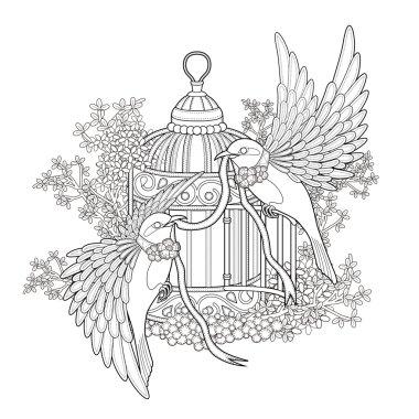 elegant bird coloring page