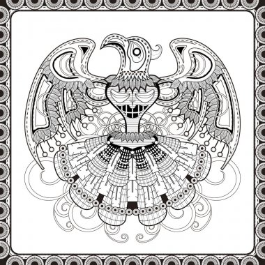 mystery bird totem coloring page