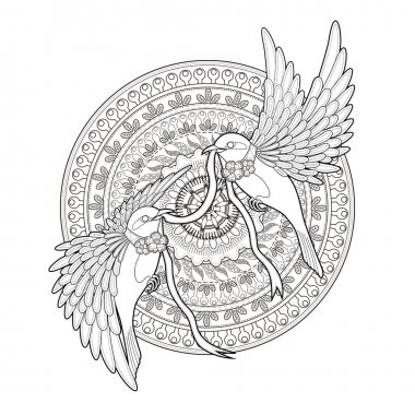 elegant bird coloring page