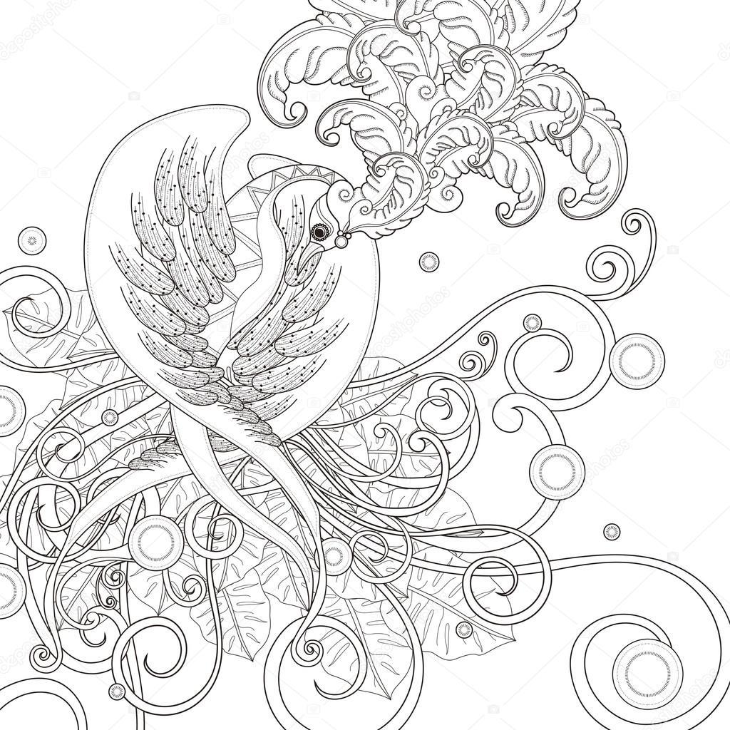 Página para colorear de aves hermosas — Archivo Imágenes Vectoriales ...