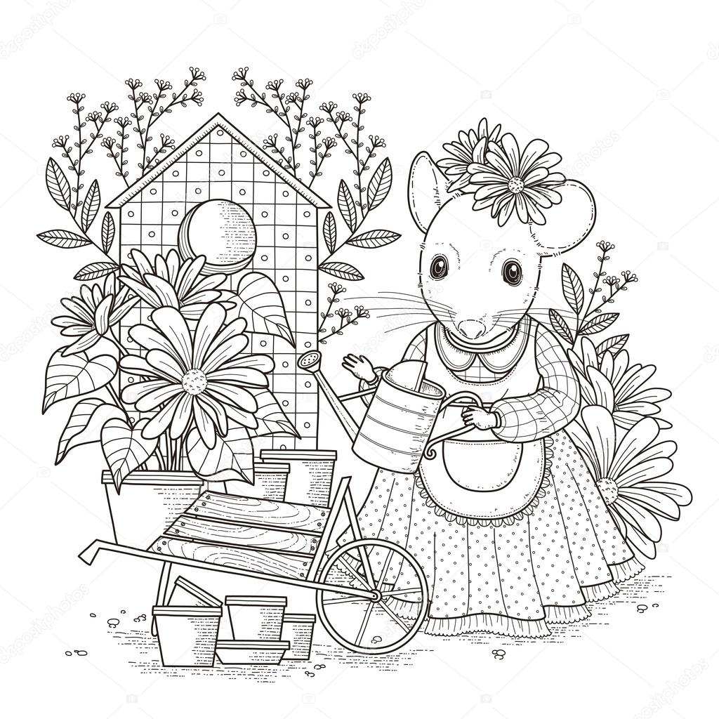 Adorable Mouse Coloring Page Stock Vector C Kchungtw 82668816