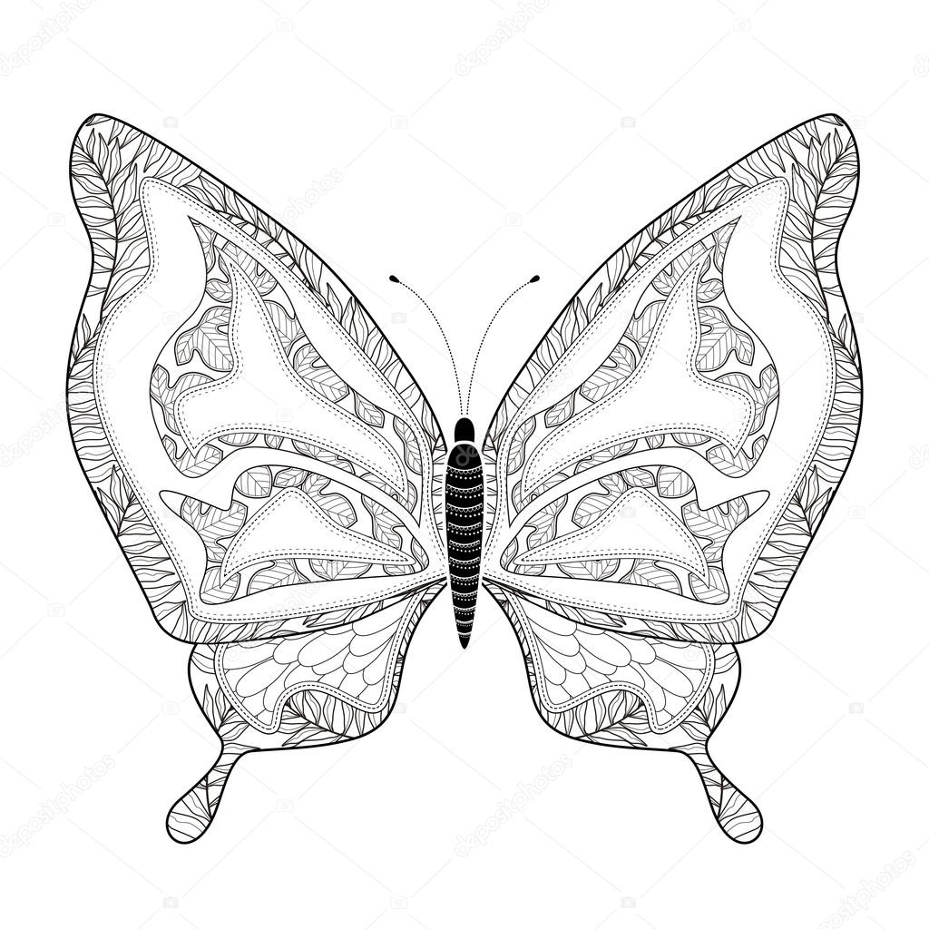 Butterfly coloring page symmetry - Elegant Butterfly Coloring Page Stock Vector 82668958