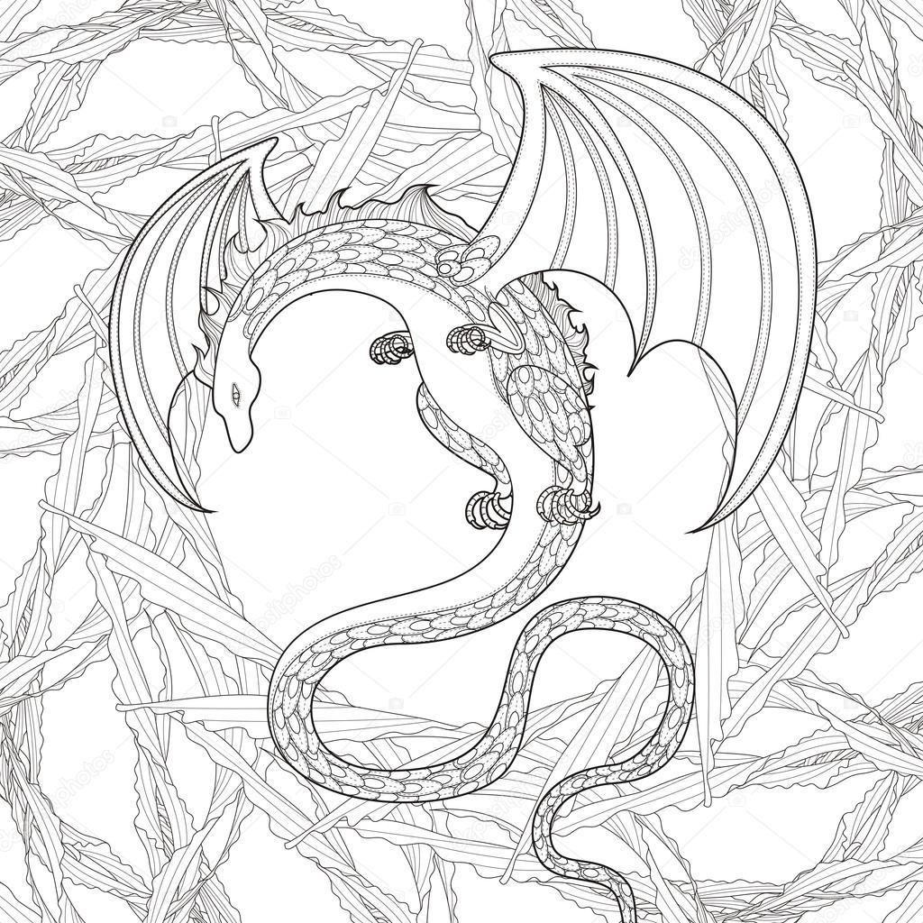 Gizem Dragon Boyama Sayfası Stok Vektör Kchungtw 82669450