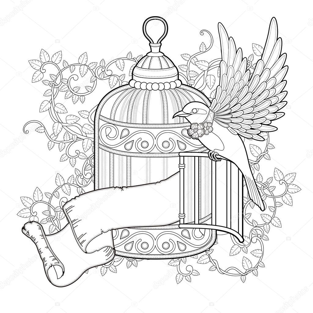 Zarif Kuş Boyama Sayfası Stok Vektör Kchungtw 82669468