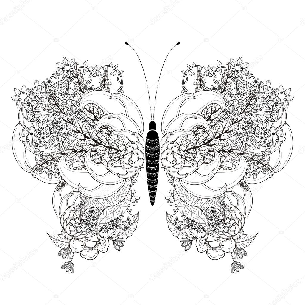 Butterfly coloring page symmetry - Elegant Butterfly Coloring Page Stock Vector 82669676