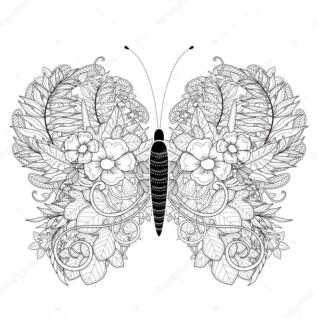 elegant butterfly coloring page stock vector 82669770