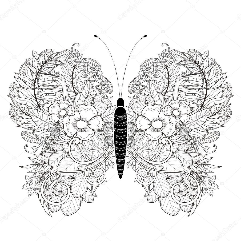 Kleurplaten Dieren Vlinders.Vlinder Kleurplaat