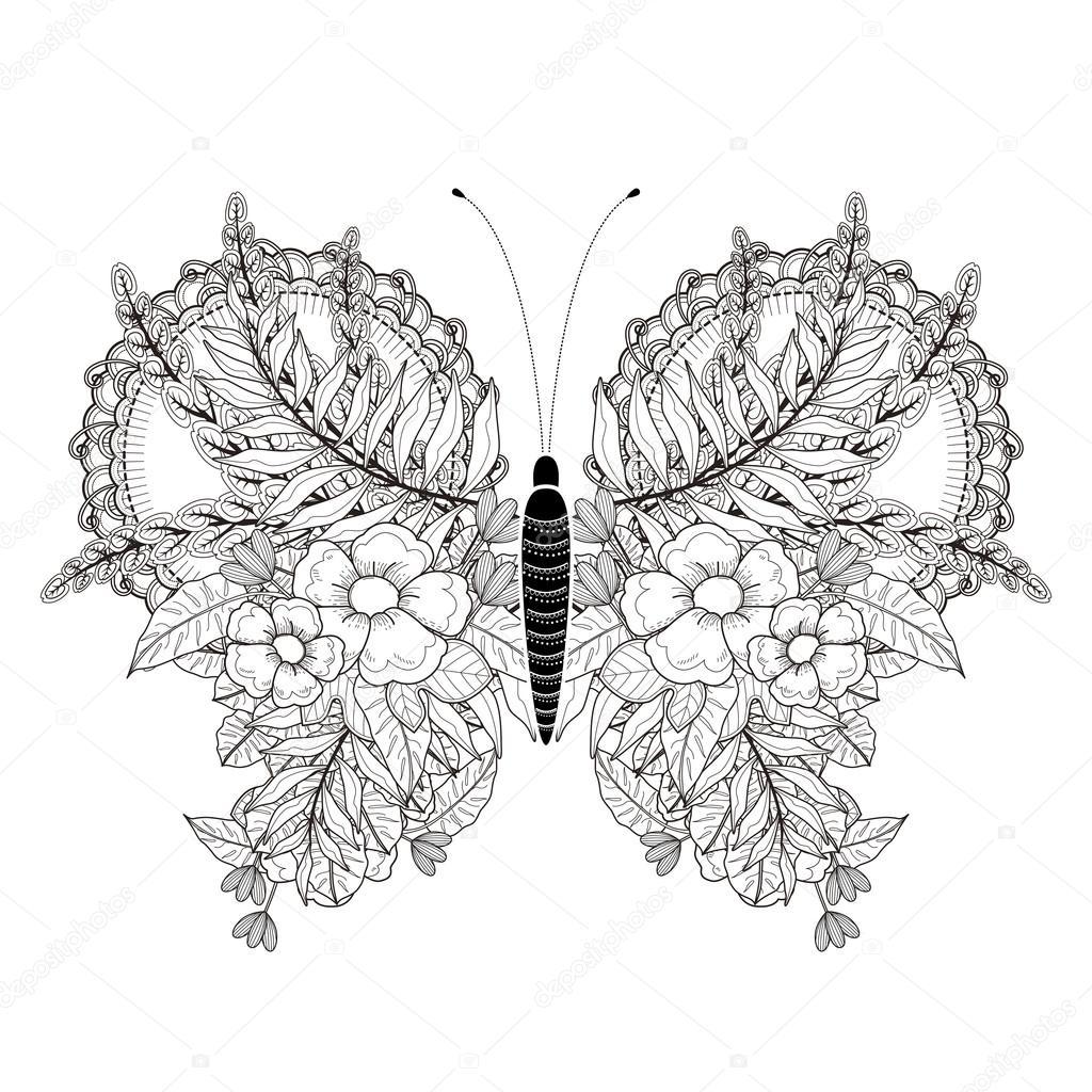 Página para colorear de mariposa elegante — Vector de stock ...