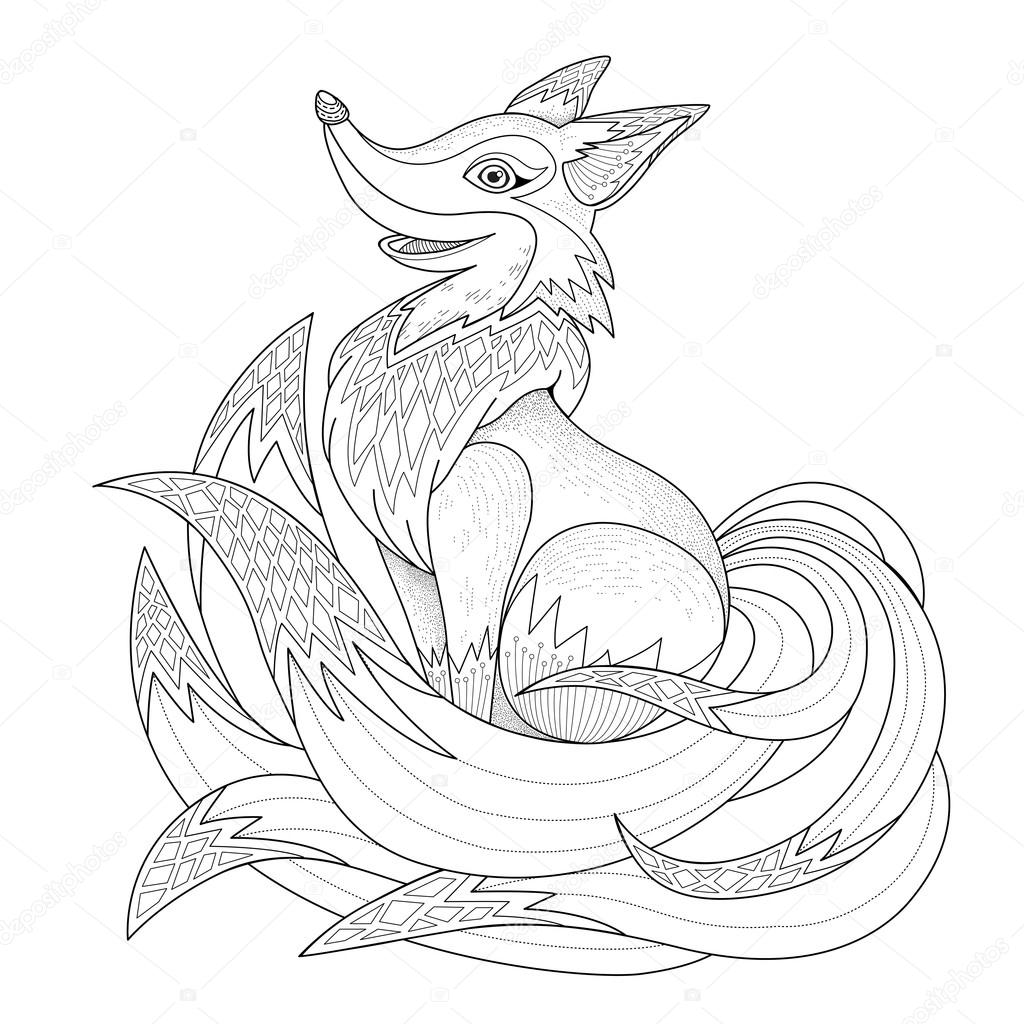 graceful fox coloring page u2014 stock vector kchungtw 82669868