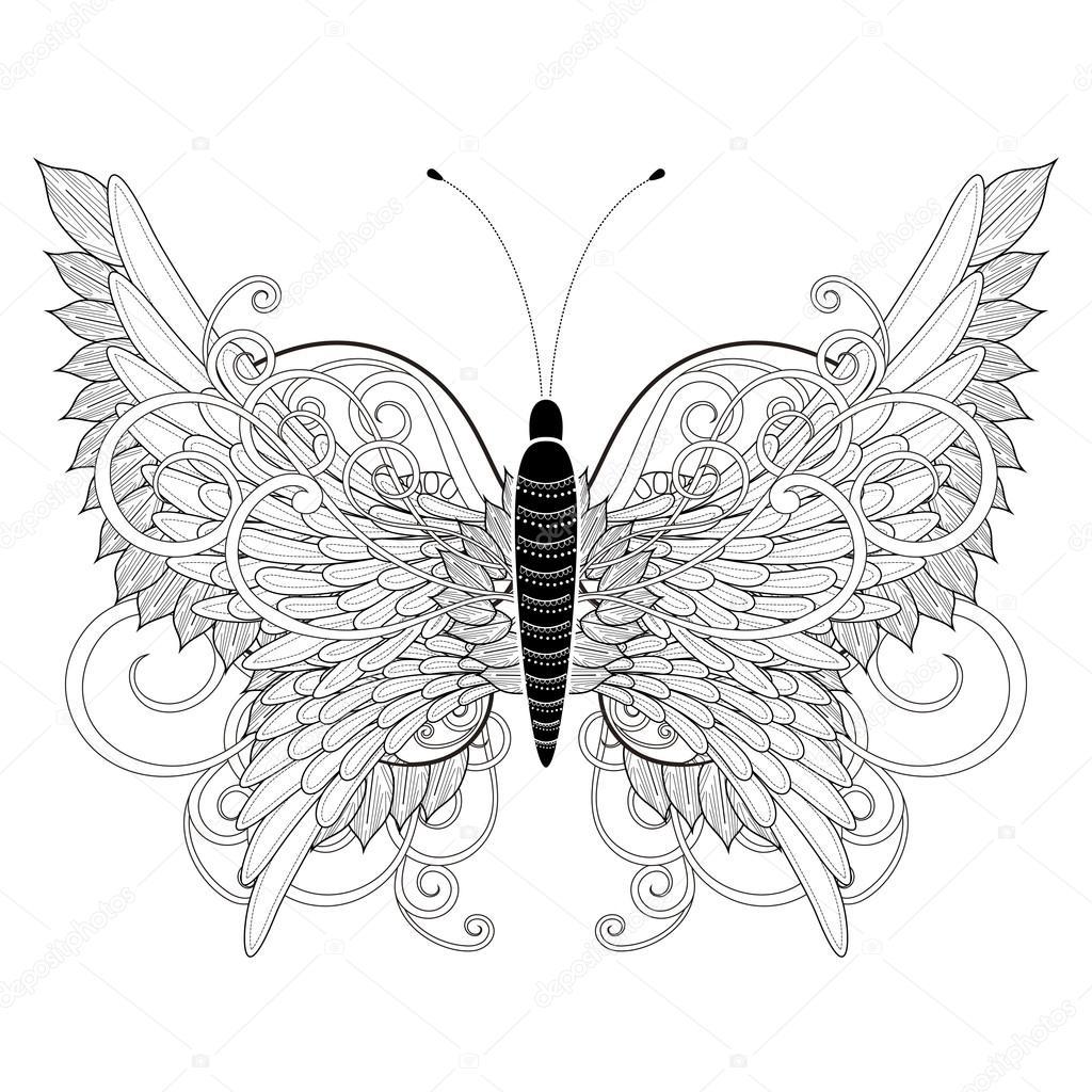 Página para colorear de mariposa elegante — Archivo Imágenes ...