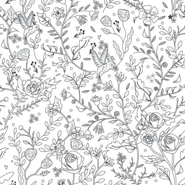 graceful seamless floral pattern coloring page