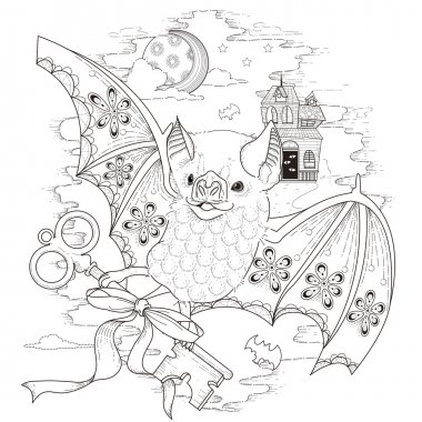 lovely bat coloring page