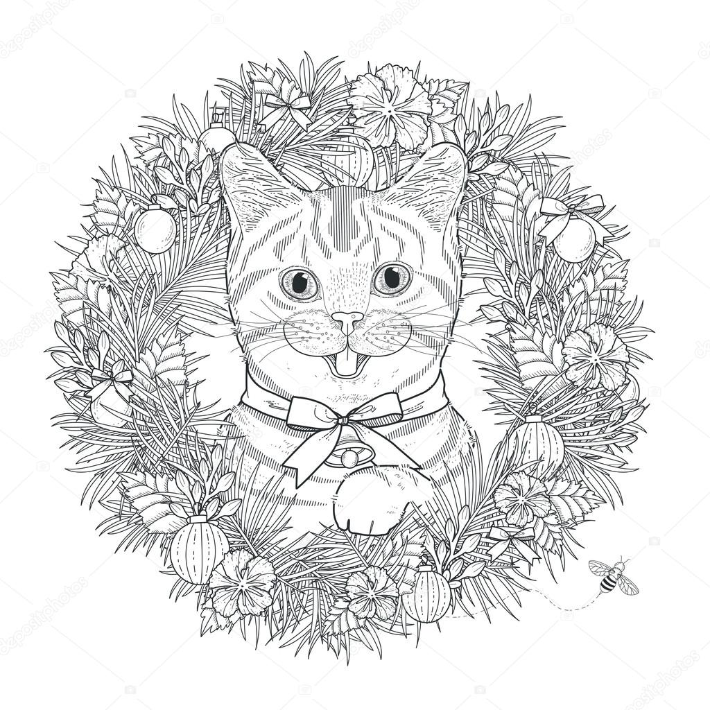 Adorable Kitty Coloring Page In Exquisite Style Vector By Kchungtw