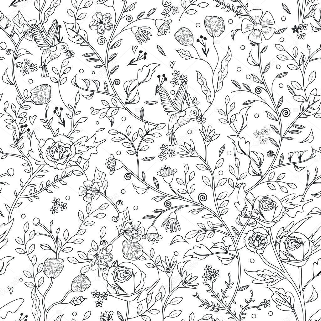 graceful seamless floral pattern coloring page — Stock Vector ...