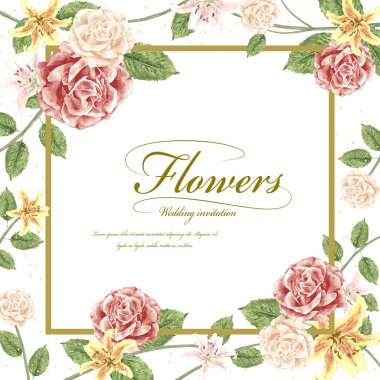 romantic flowers wedding invitation template design