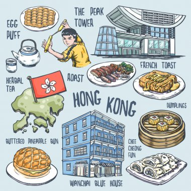 colorful travel concept of Hong Kong