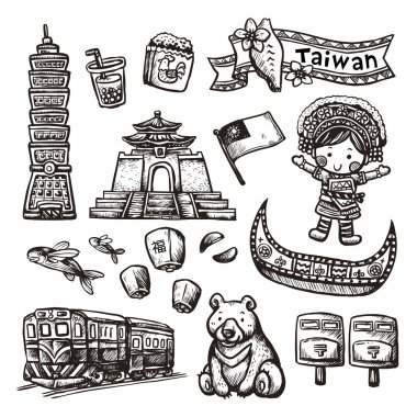 monochrome hand drawn style Taiwan specialties and attractions