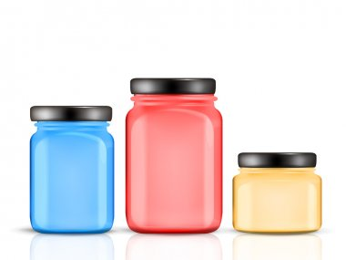 colorful glass jars set