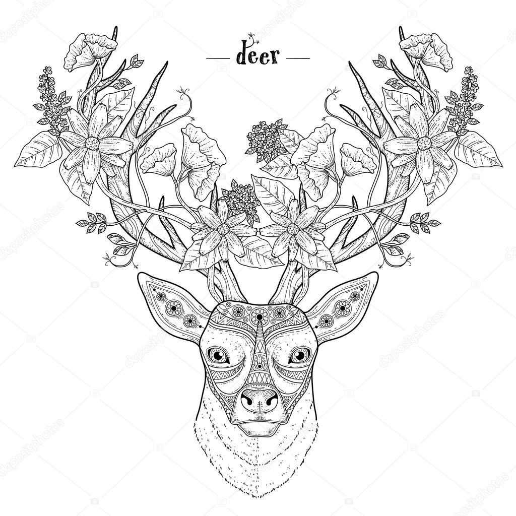 cabeza ciervo elegante — Vector de stock © kchungtw #85997584