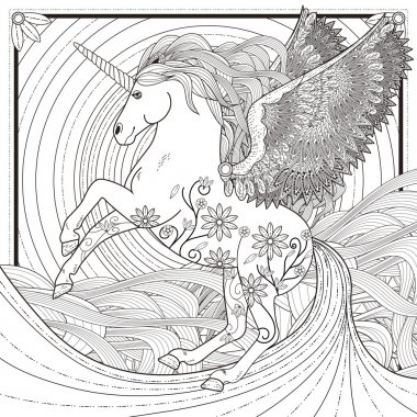 Fantastic unicorn coloring page in exquisite style stock vector