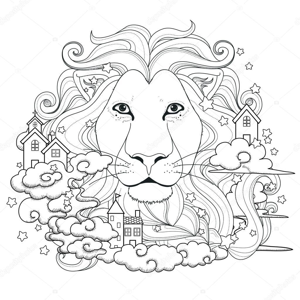 Güzel Aslan Boyama Sayfası Stok Vektör Kchungtw 87968166