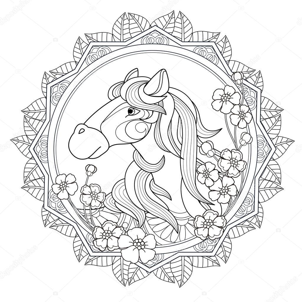 e0ed1e5e Härlig häst målarbok i utsökt stil — Vektor av kchungtw