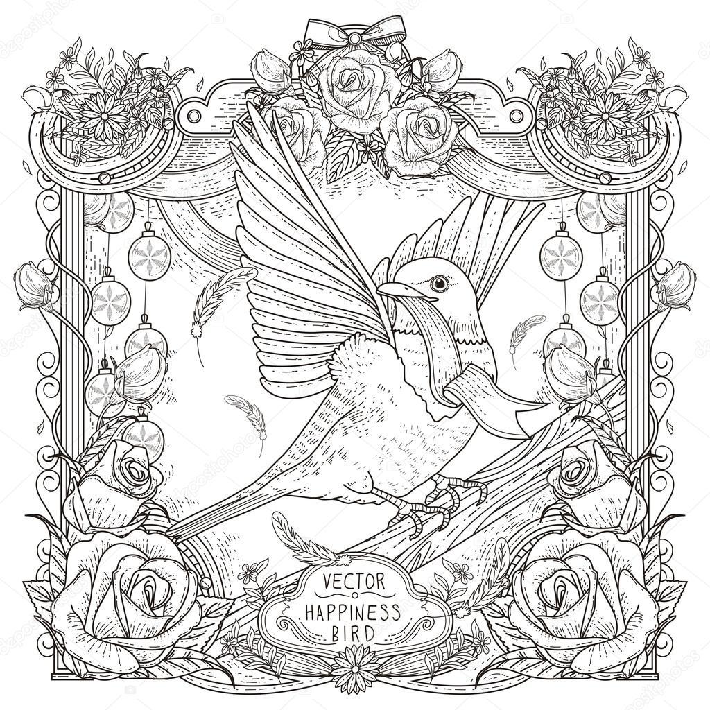 Neşeli Kuş Boyama Sayfası Stok Vektör Kchungtw 87973790
