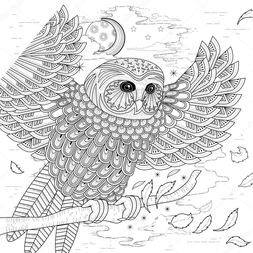 Güzel Baykuş Boyama Sayfası Stok Vektör Kchungtw 87973838