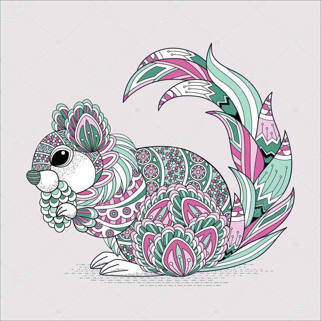 lovely squirrel coloring page — Stock Vector © kchungtw #87974294